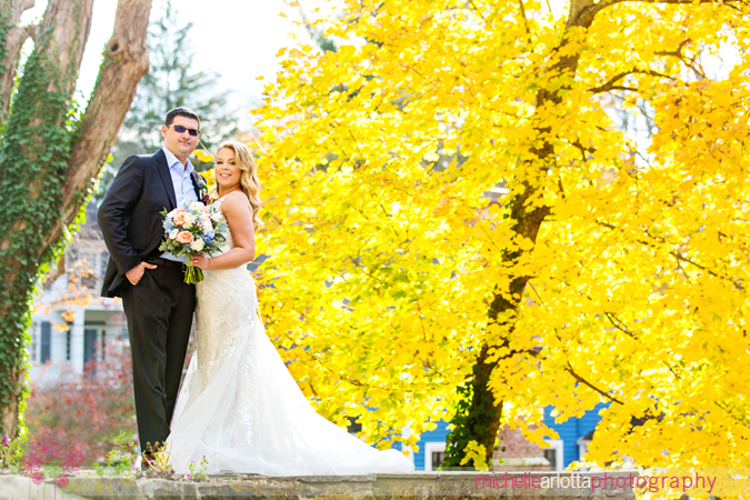 inn at millrace pond fall wedding couple
