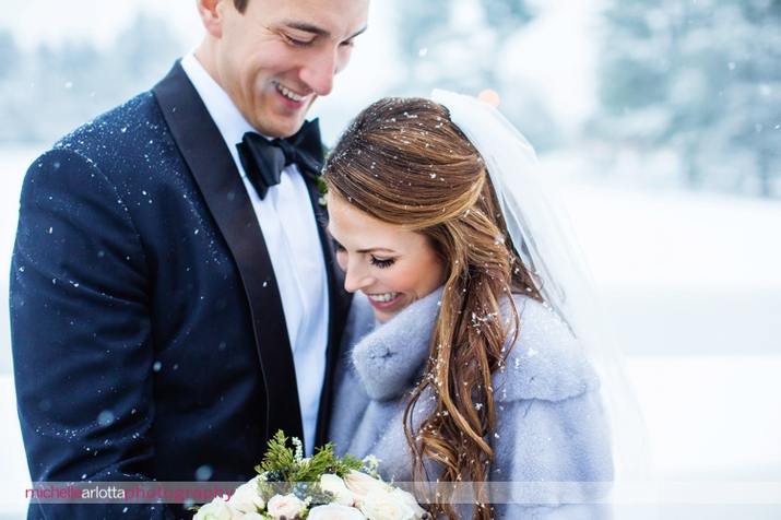 New Jersey winter Ryland inn wedding bride and groom candid portrait