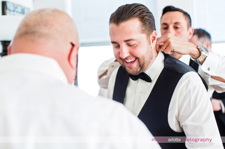 guys getting ready during jersey city wedding